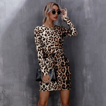 Leopard Tie Front Fitted Dress
