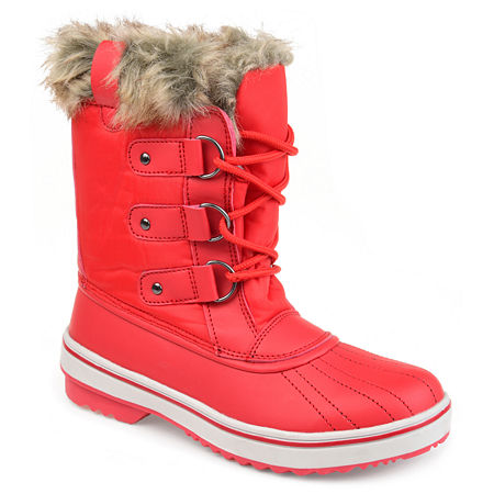 Journee Collection Womens North Water Resistant Block Heel Lace-up Snow Boots, 11 Medium, Red