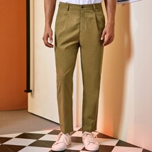 Men Solid Button Fly Straight Leg Pants