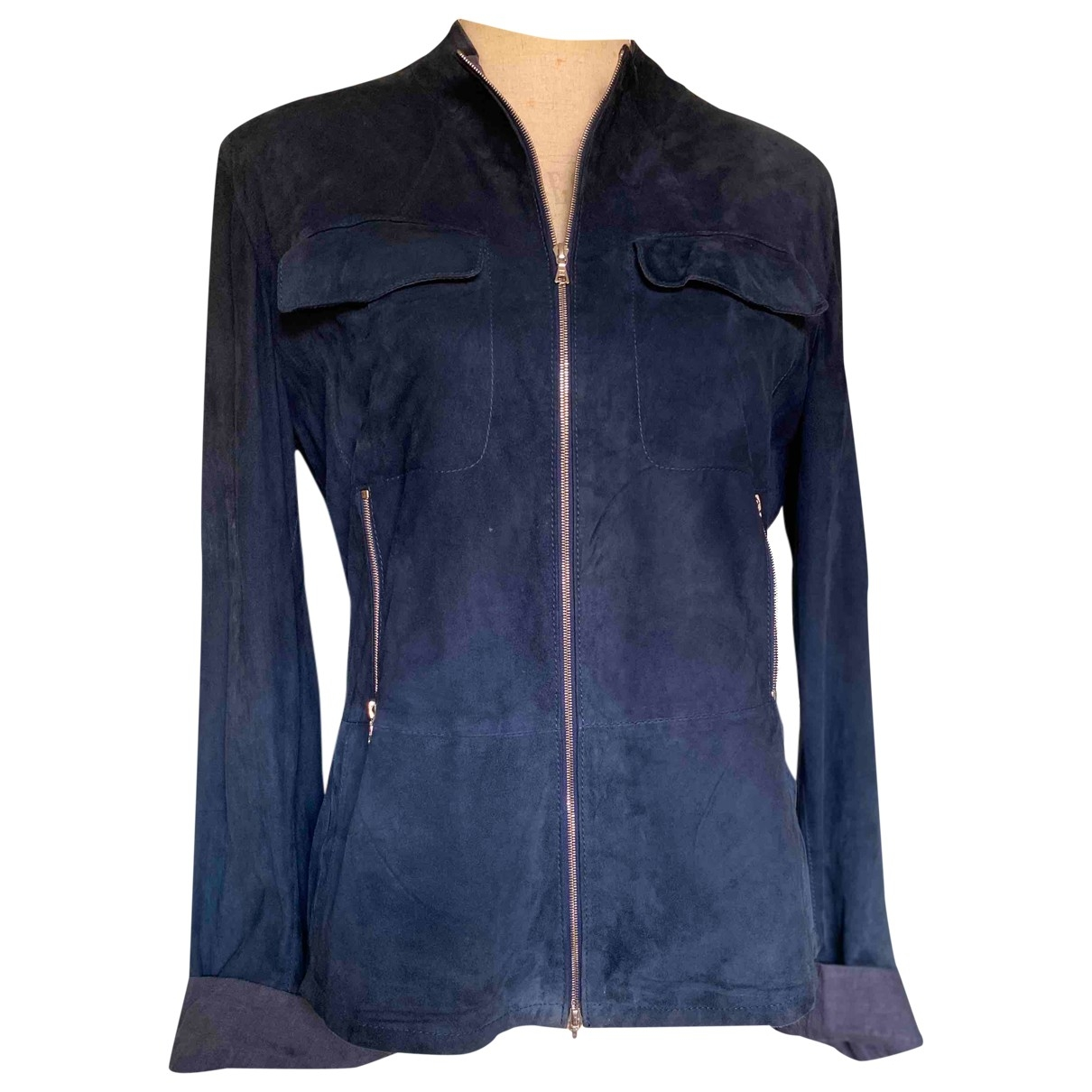 Non Signé / Unsigned \N Blue Leather Leather jacket for Women 44 IT
