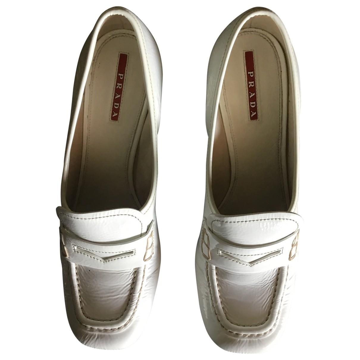 Prada \N White Patent leather Flats for Women 38.5 EU