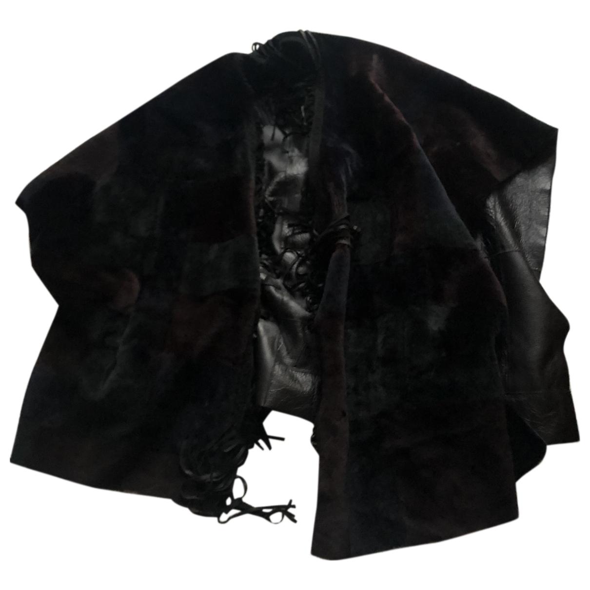 Ventcouvert - Manteau   pour femme en cuir - noir