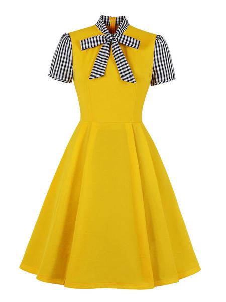 Milanoo Vestido vintage 1950s Cuello alto Lazos Anudados Mangas cortas Parche Rayas Vestido de swing
