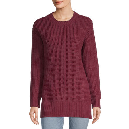 Arizona-Juniors Womens Round Neck Long Sleeve Striped Pullover Sweater, X-small , Red