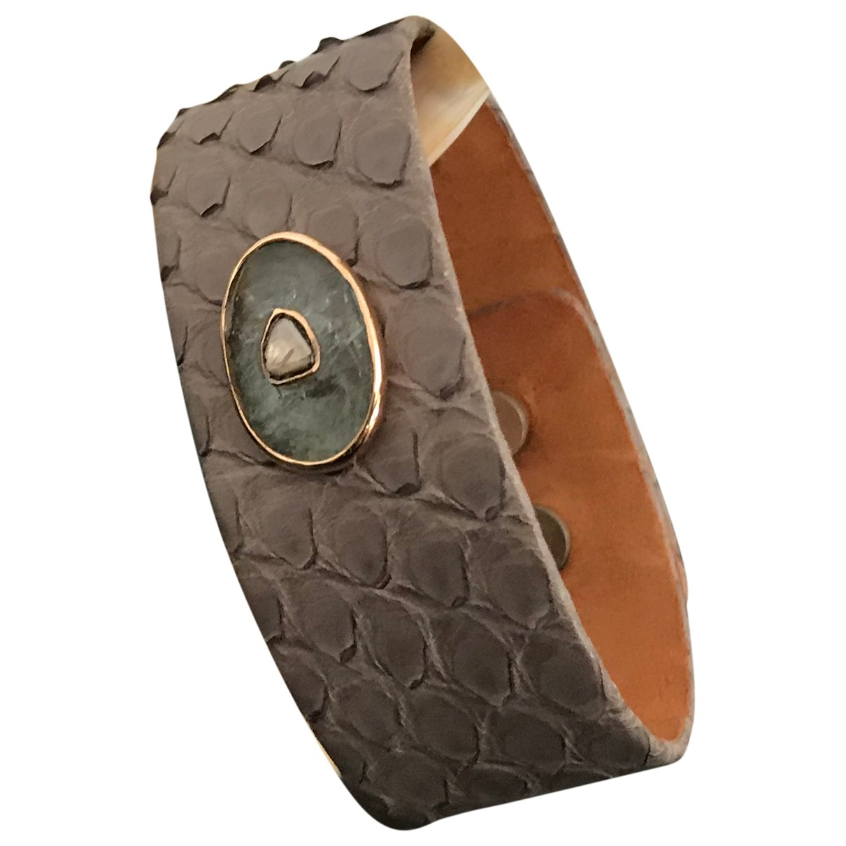 Pascale Monvoisin - Bracelet Cauri pour femme en python - gris