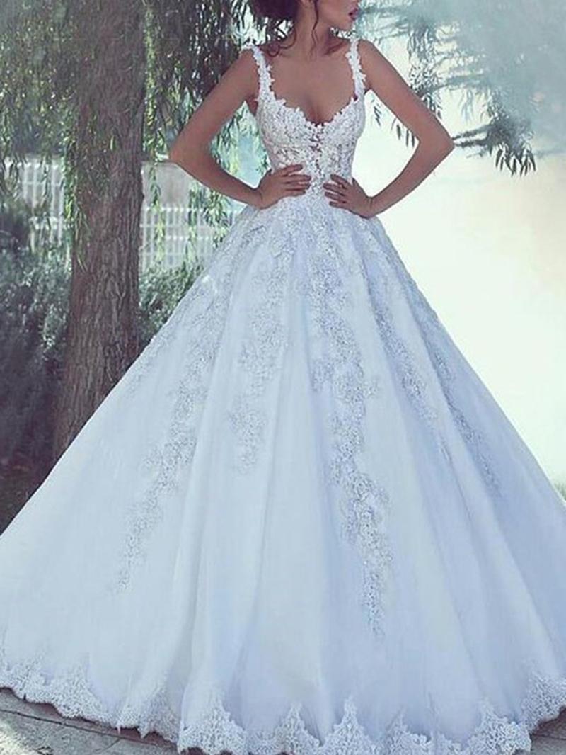 Ericdress Appliques Spaghetti Straps Church Wedding Dress