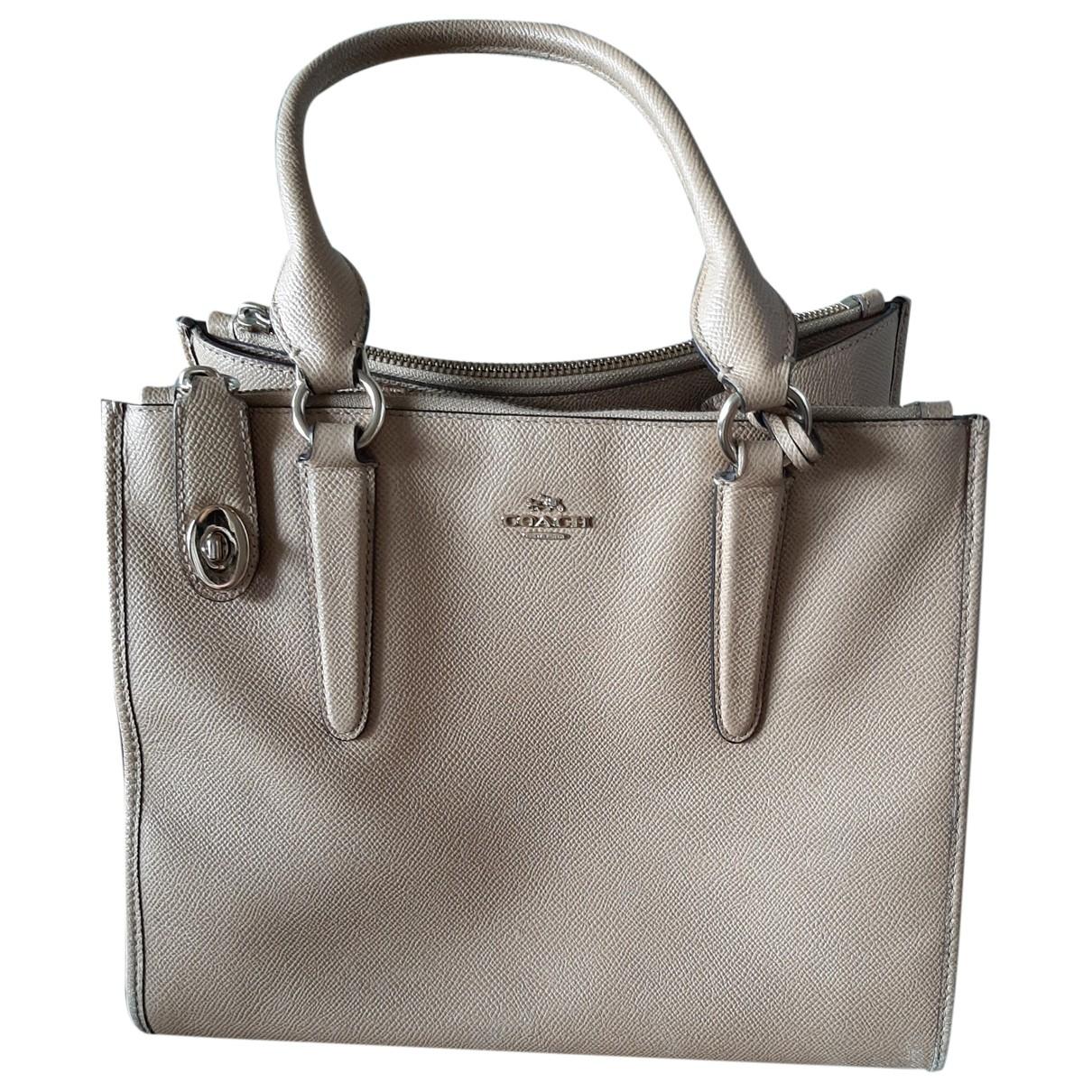 Coach Crossgrain Kitt Carry All  Beige Leather handbag for Women \N