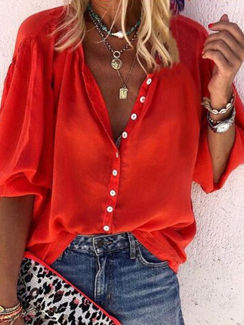 Ericdress Button Plain Stand Collar Mid-Length Half Sleeve Blouse