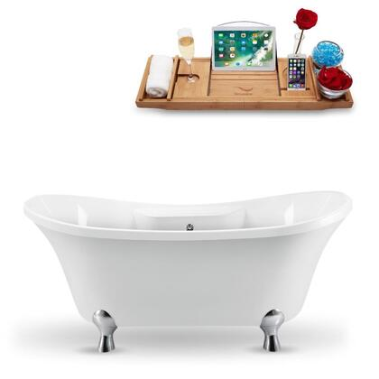 N901CH-CH 68 Clawfoot Tub and Tray With External Drain in