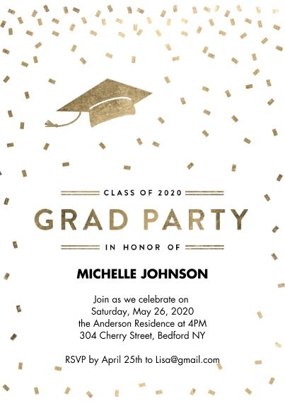 2020 Graduation Invitations 5x7 Cards, Standard Cardstock 85lb, Card & Stationery -2020 Grad Party Confetti by Tumbalina