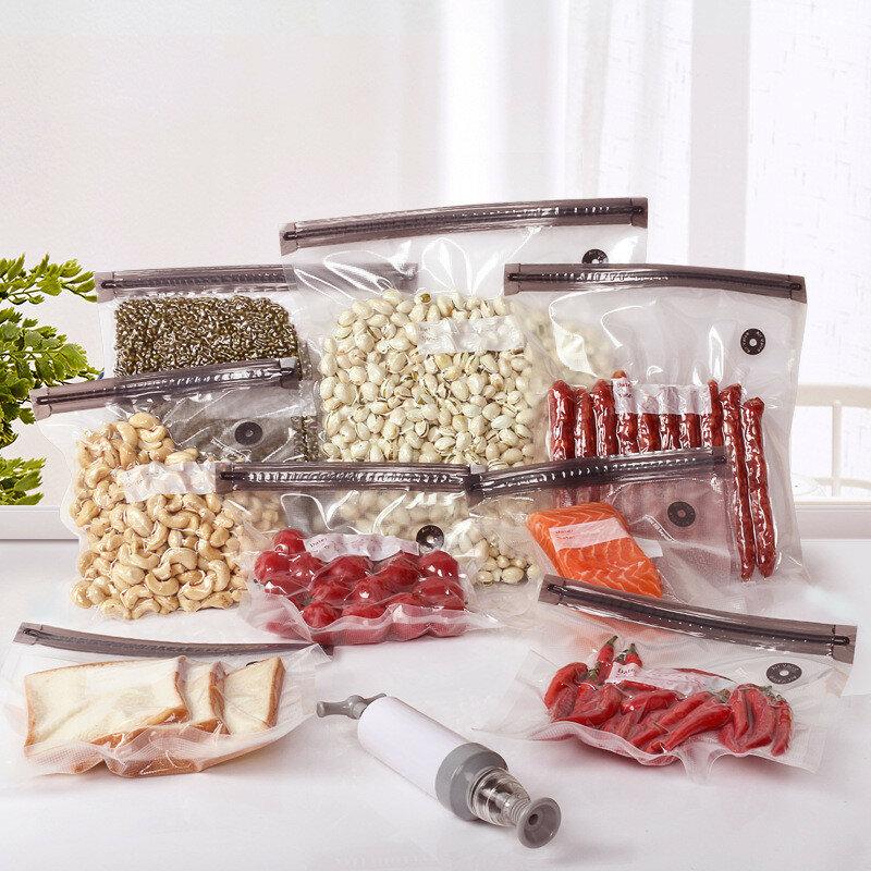 10Pcs Reusable Seal Food Fresh Vacuum Bag Sealer Fruit Meat Milk Organizer Storage Bag