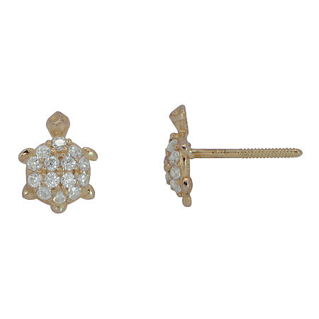 Cubic Zirconia 14K Yellow Gold Turtle Stud Earrings, One Size , No Color Family