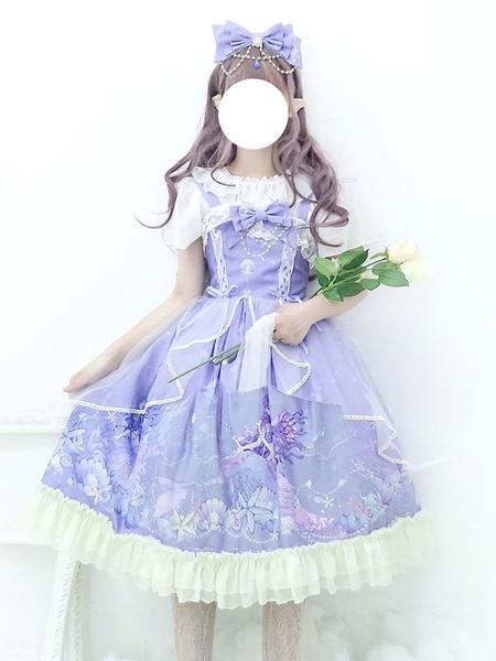 Milanoo Sweet Lolita JSK Dress Mermaid Princess Deep Sea Hymn Lace Ruffle Bow Tulle Lolita Jumper Skirt