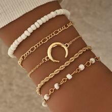 5 Stuecke Armband mit Mond Dekor