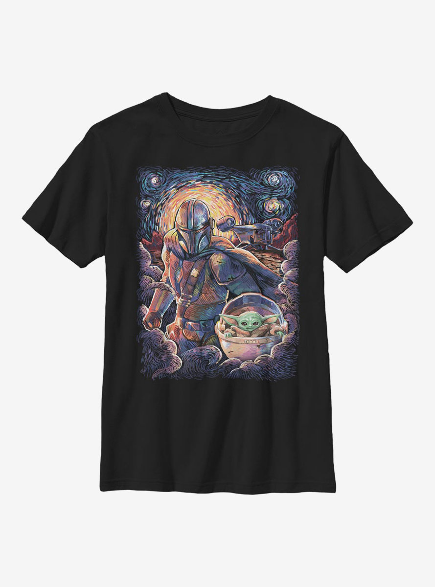 Star Wars The Mandalorian The Child Duo Starry Sky Youth T-Shirt