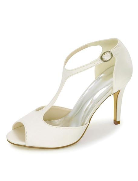 Milanoo Purple Mother Shoes Satin Wedding Shoes Peep Toe T Type High Heels