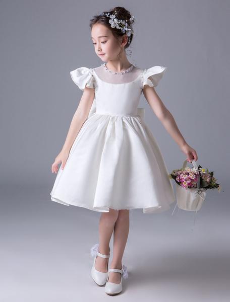 Milanoo Vestidos De Niña De Flores Satinado Mangas Cortas Lazo Marfil Vestido De Princesa Longitud De La Rodilla Vestidos De Fiesta Para Niños