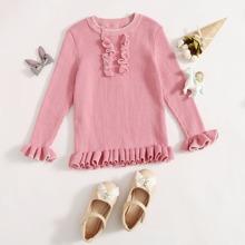 Toddler Girls Frill Trim Sweater
