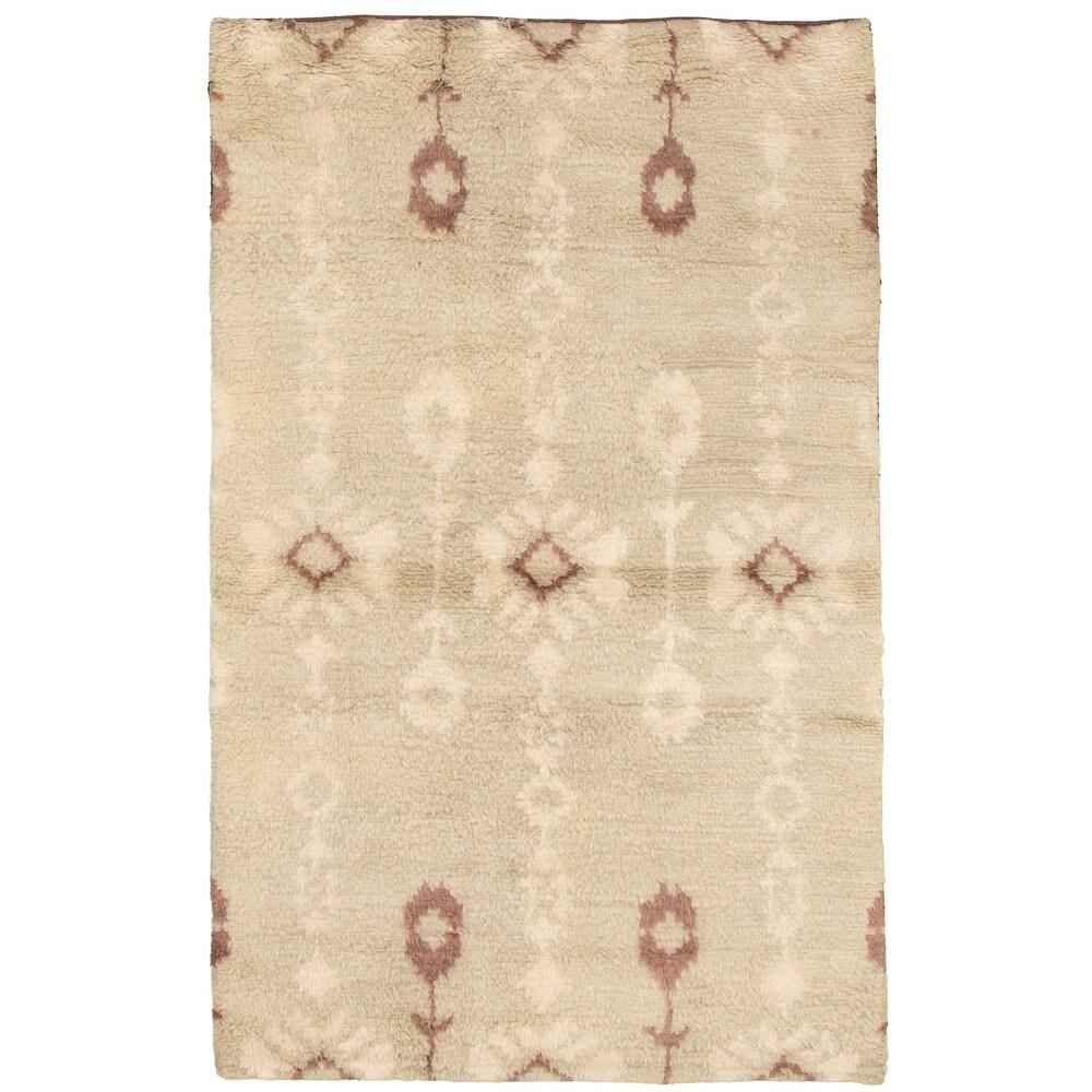 ECARPETGALLERY  Hand-knotted Tangier Khaki Wool Rug - 5'0 x 7'11 (Light Khaki - 5'0 x 7'11)
