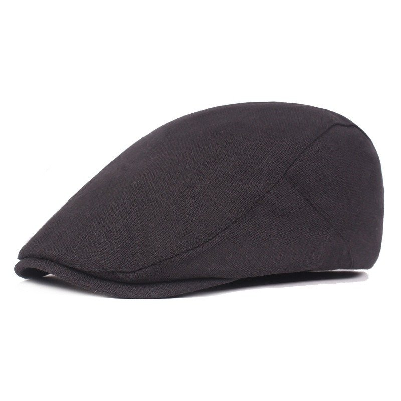 Men Solid Color Cotton Beret Cap Duck Hat Sunshade Casual Outdoors Peaked Forward Cap Adjustable Hat