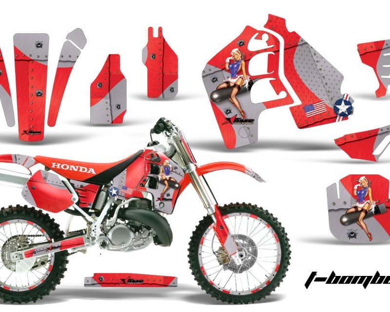 AMR Racing Graphics MX-NP-HON-CR500-89-01-TB R Kit MX Decal Wrap + # Plates For Honda CR500 CR 500 1989-2001áTBOMBER RED
