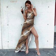 vestido de tirantes de rayas de tigre de muslo con abertura