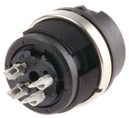 Binder Connector, 4 contacts Panel Mount Plug, Solder IP40