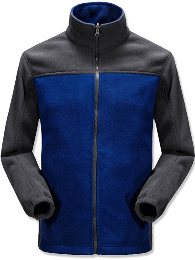 Ericdress Thick Style Color Block Stand Collar Casual Mens Jacket