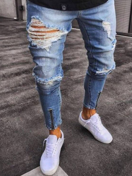 Milanoo Men Ripped Jean Plus Size Zipper Distressed Light Blue Denim Pant Tapered Fit Jeans