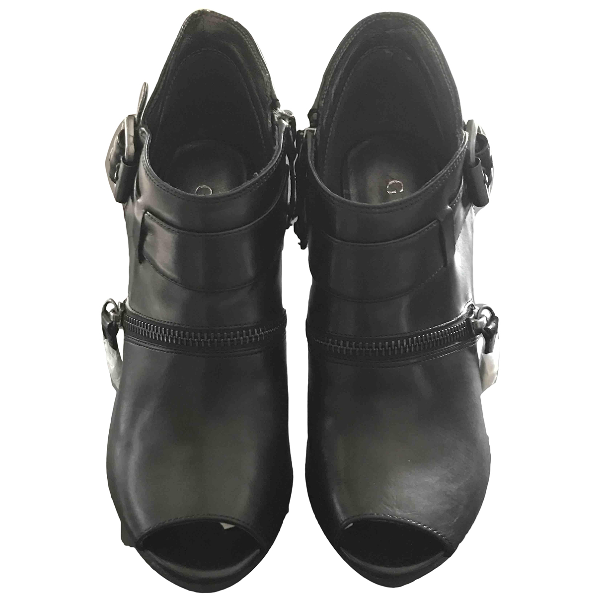Guess N Black Leather Ankle boots for Women 36 EU