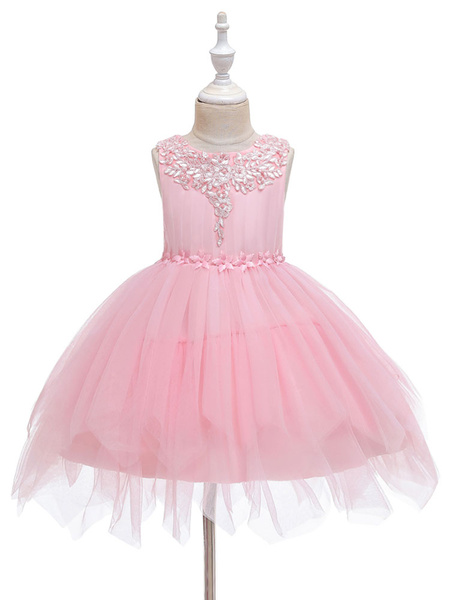 Milanoo Flower Girl Dresses Jewel Neck Polyester Sleeveless Knee-Length Princess Silhouette Bows Kids Social Party Dresses