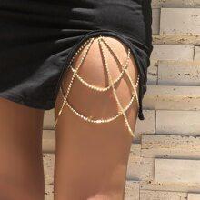 Cadena de muslo con diamante de imitacion