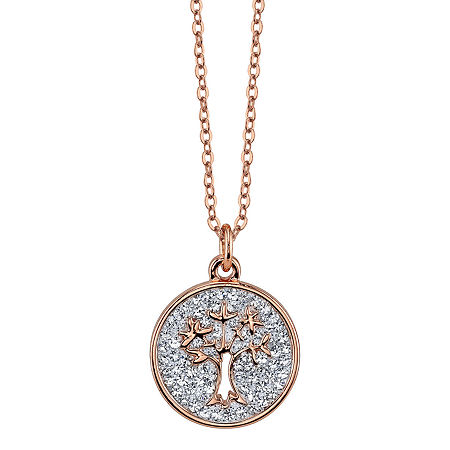 Sparkle Allure Crystal 18 Inch Cable Round Pendant Necklace, One Size , No Color Family