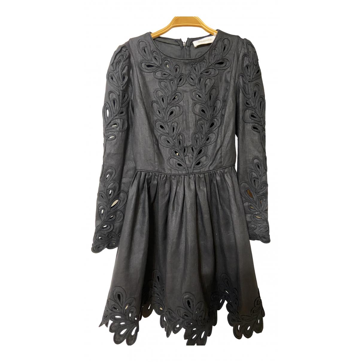 Zimmermann - Robe   pour femme en lin - noir