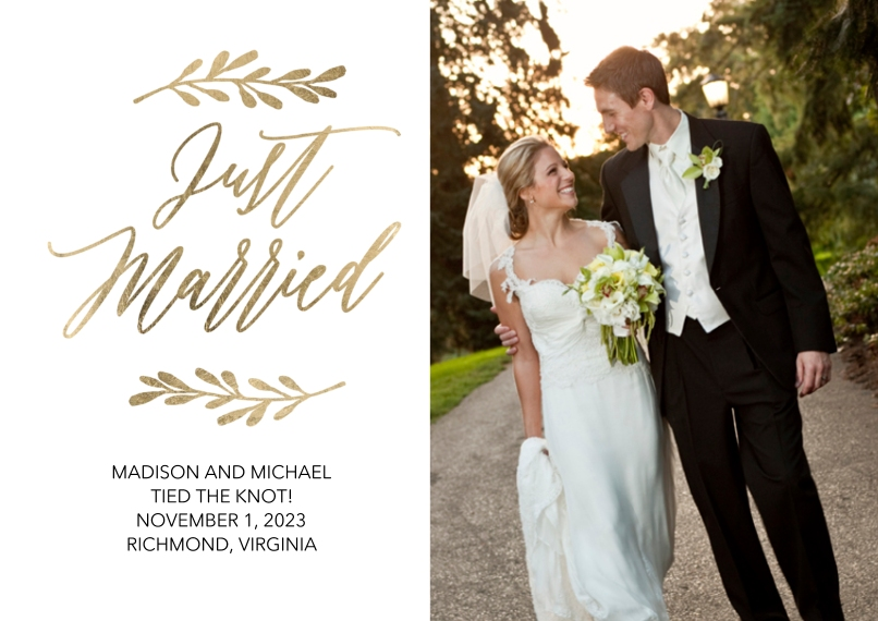 Just Married 5x7 Cards, Premium Cardstock 120lb with Elegant Corners, Card & Stationery -Wedding Just Married Gold Leaves by Tumbalina