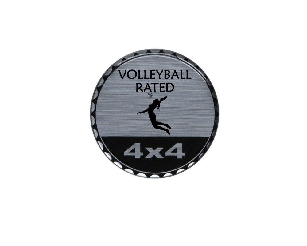 Tufskinz JEX059-DUM-284-G Rated Badge Fits Jeep 1 Piece Kit In Brushed Silver (Volleyball Rated)