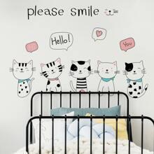 Cartoon Cat Print Wall Sticker