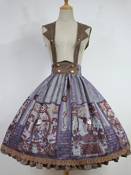 Milanoo Classical Lolita Dress JSK Vintage Printed Cross Back Cotton Lolita Jumper Skirt Original Design