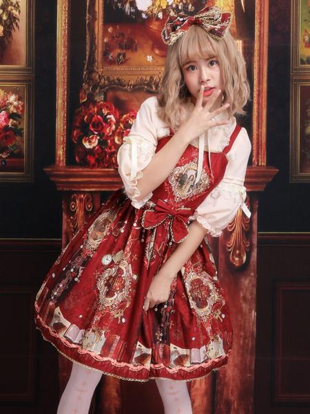 Milanoo Classic Lolita JSK Dress Print Bow Red Lolita Jumper Skirt