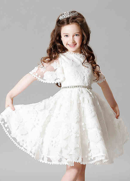 Milanoo Lace Flower Girl Dress Boho Princess Ivory A-line Illusion Bell Sleeve Knee Length Pageant Dress With Jeweled Sash