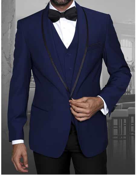 Mens Sapphire 1 Button Blazer Shawl Lapel With Trim Sport Coat