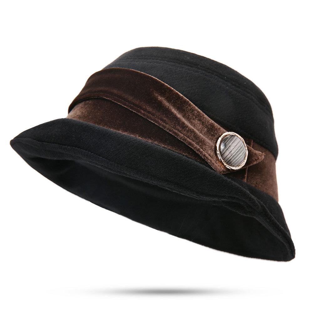 Women Warm Fleece Top Hat Outdoor Vogue Fashion Vintage Wild Elegant Bucket Cap