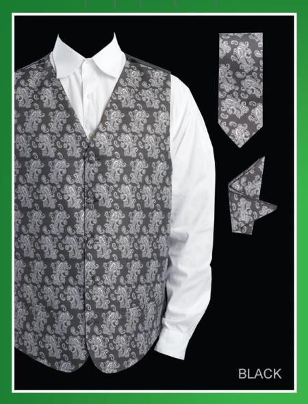Mens 4 Piece Vest Set  Paisley Jacquard Black