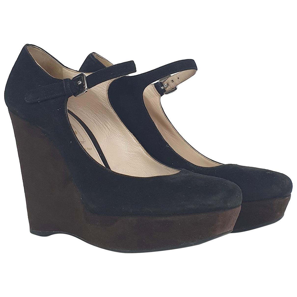Prada N Black Suede Heels for Women 36.5 IT
