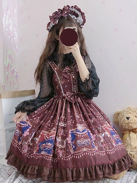 Milanoo Sweet Lolita JSK Dress Masquerade Printed Bows Ruffles Burgundy Lolita Jumper Skirts
