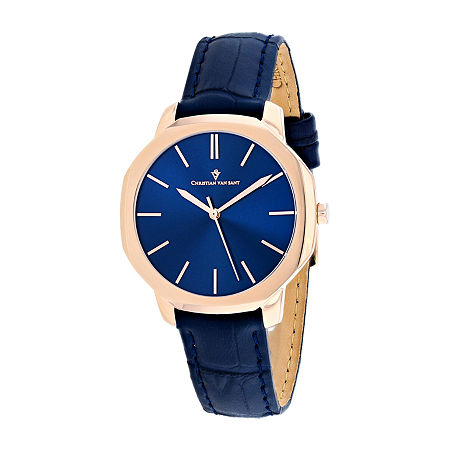 Christian Van Sant Womens Blue Leather Strap Watch-Cv0505, One Size , No Color Family