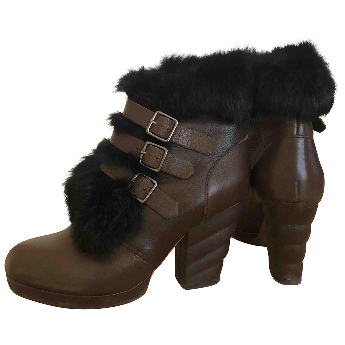 See By Chloe - Boots   pour femme en cuir - marron