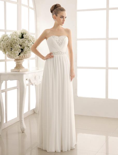 Milanoo Strapless Tiered Wedding Dress In Floor-Length
