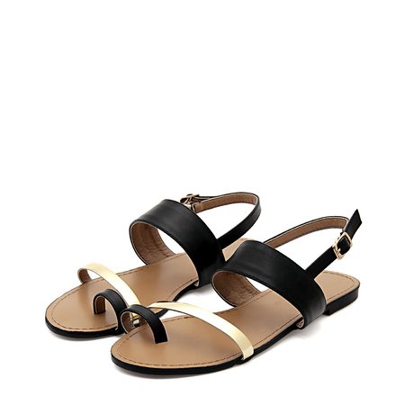 Yoins Black Leather Look Gold Strap Looped Toe Flat Sandals