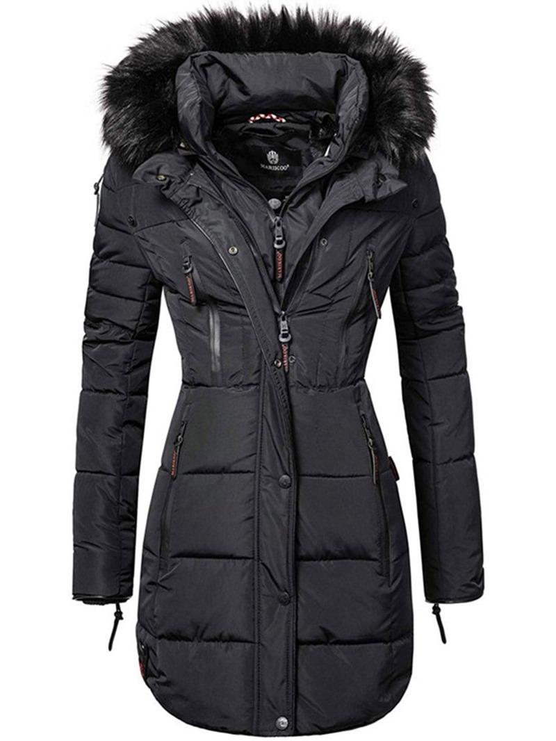 Ericdress Zipper Zipper Slim Long Cotton Padded Jacket